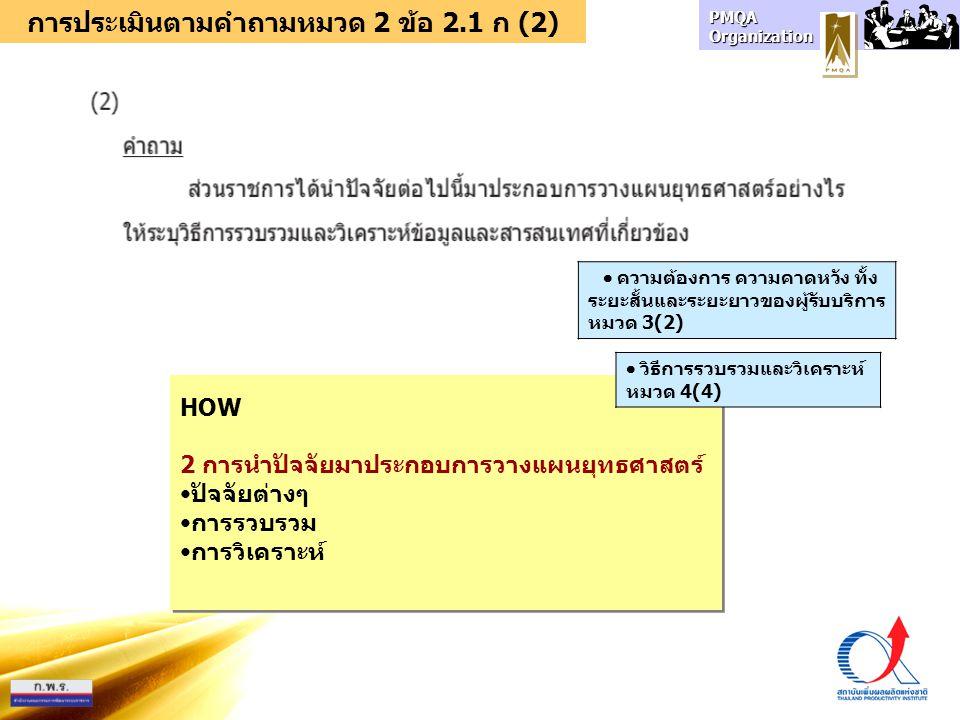 การประเมินตามคำถามหมวด 2 ข้อ 2.1 ก (2)