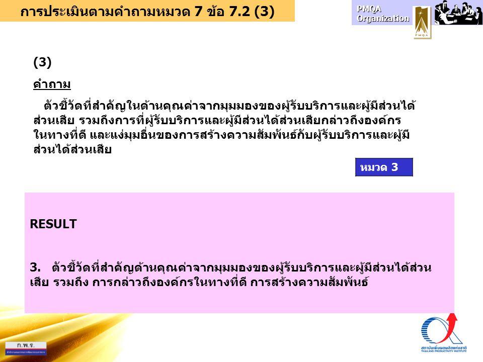 การประเมินตามคำถามหมวด 7 ข้อ 7.2 (3)