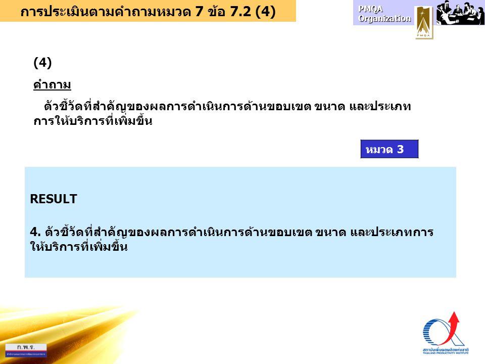 การประเมินตามคำถามหมวด 7 ข้อ 7.2 (4)