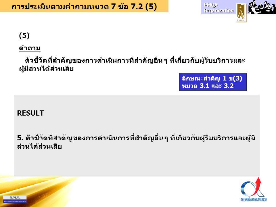 การประเมินตามคำถามหมวด 7 ข้อ 7.2 (5)