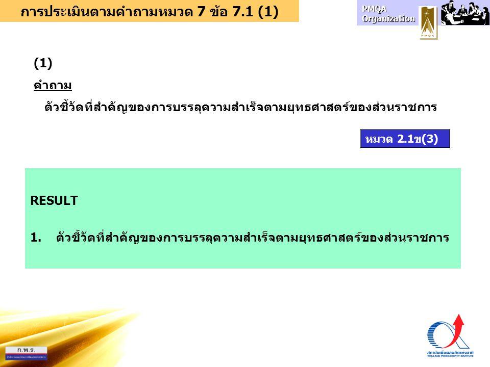 การประเมินตามคำถามหมวด 7 ข้อ 7.1 (1)