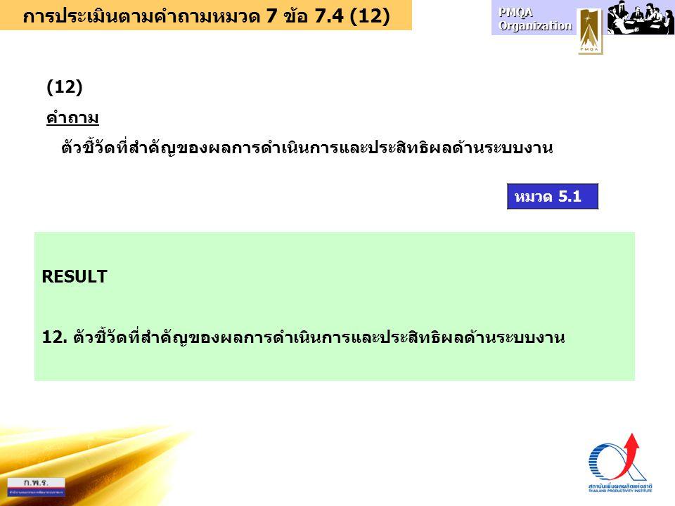 การประเมินตามคำถามหมวด 7 ข้อ 7.4 (12)