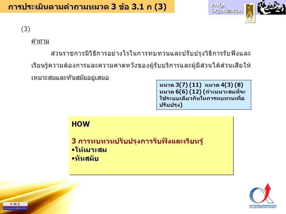 การประเมินตามคำถามหมวด 3 ข้อ 3.1 ก (3)