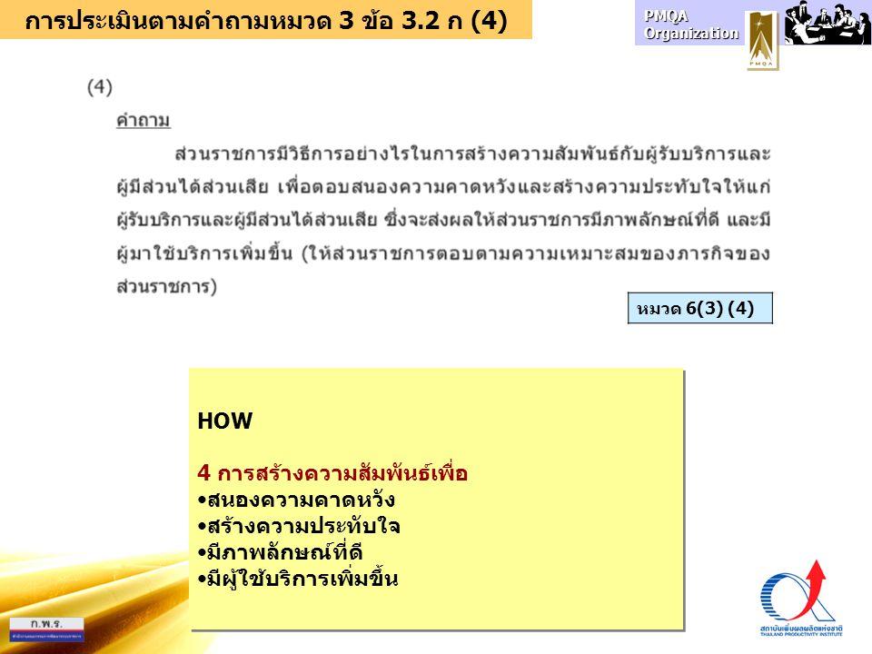 การประเมินตามคำถามหมวด 3 ข้อ 3.2 ก (4)