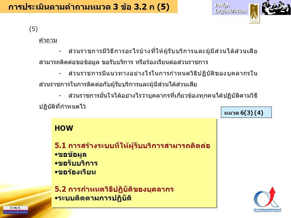 การประเมินตามคำถามหมวด 3 ข้อ 3.2 ก (5)