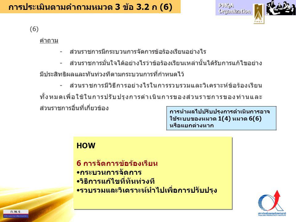 การประเมินตามคำถามหมวด 3 ข้อ 3.2 ก (6)