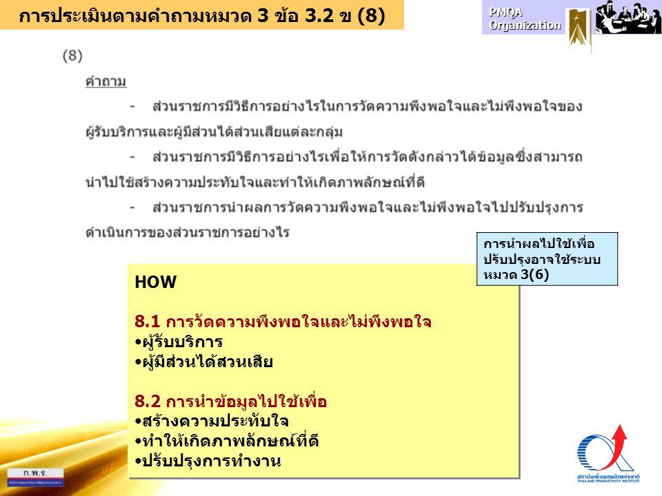 การประเมินตามคำถามหมวด 3 ข้อ 3.2 ข (8)