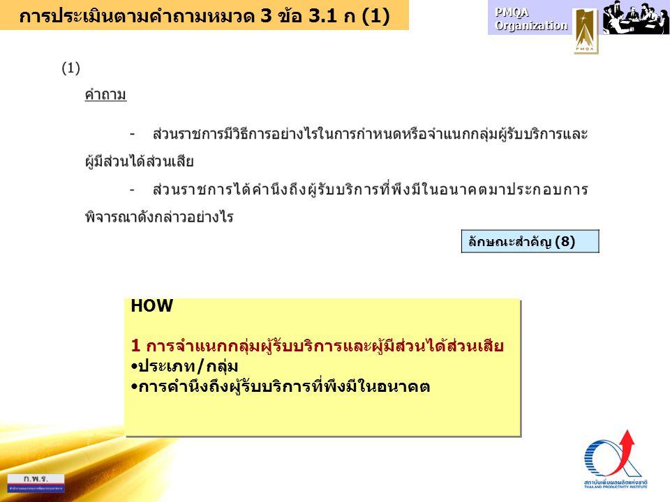 การประเมินตามคำถามหมวด 3 ข้อ 3.1 ก (1)