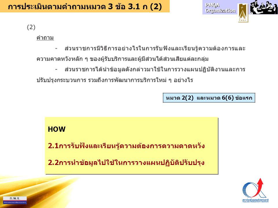 การประเมินตามคำถามหมวด 3 ข้อ 3.1 ก (2)