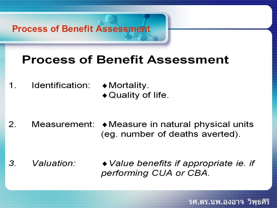 Process of Benefit Assessment