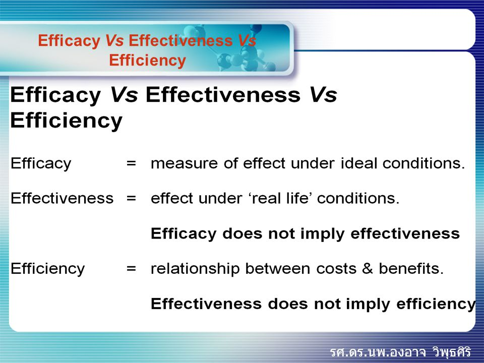 Efficacy Vs Effectiveness Vs Efficiency