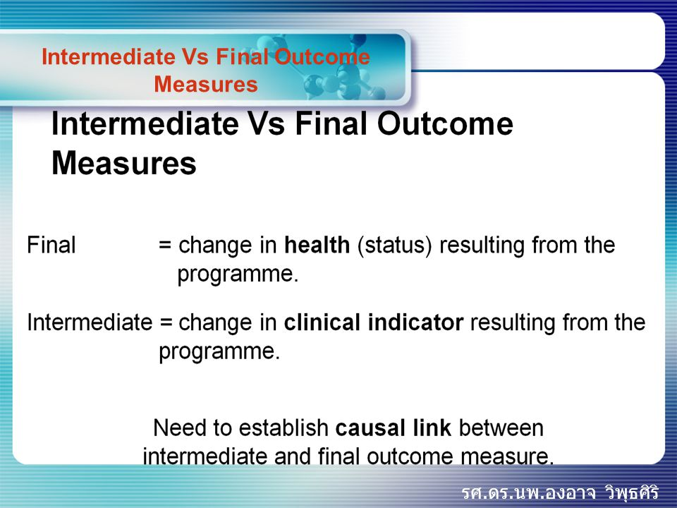 Intermediate Vs Final Outcome Measures