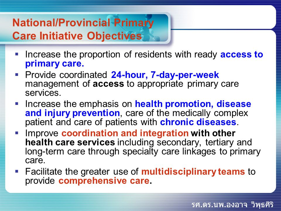 National/Provincial Primary Care Initiative Objectives