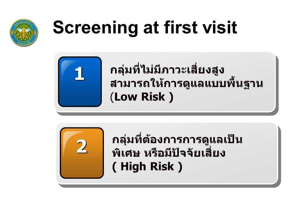 Screening at first visit