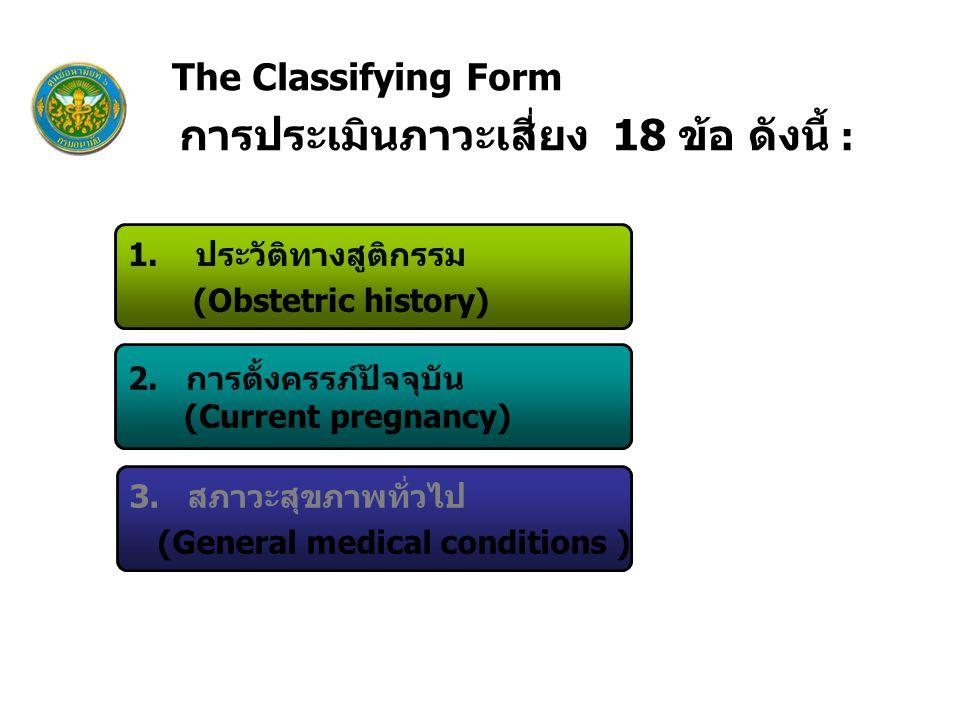 The Classifying Form 1. ประวัติทางสูติกรรม (Obstetric history)