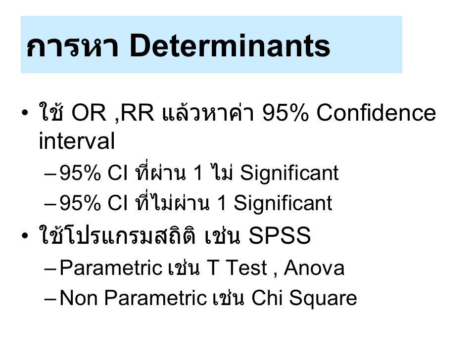 การหา Determinants ใช้ OR ,RR แล้วหาค่า 95% Confidence interval