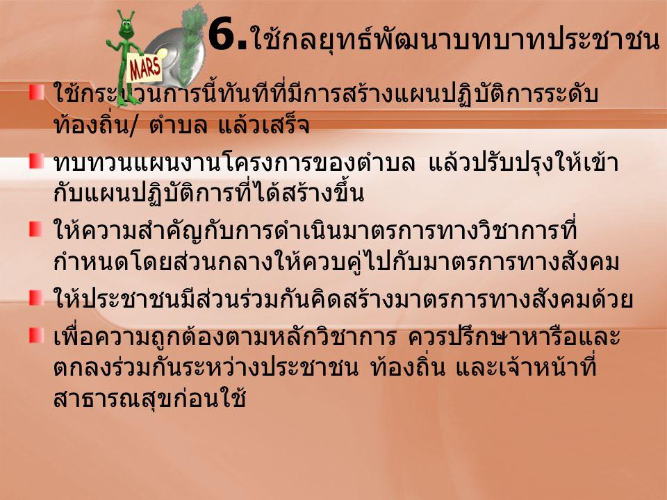 6.ใช้กลยุทธ์พัฒนาบทบาทประชาชน