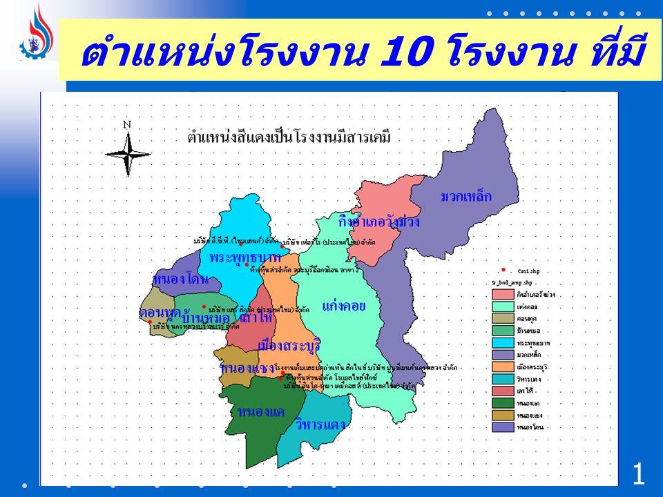 ตำแหน่งโรงงาน 10 โรงงาน ที่มีปริมาณการใช้สารเคมี