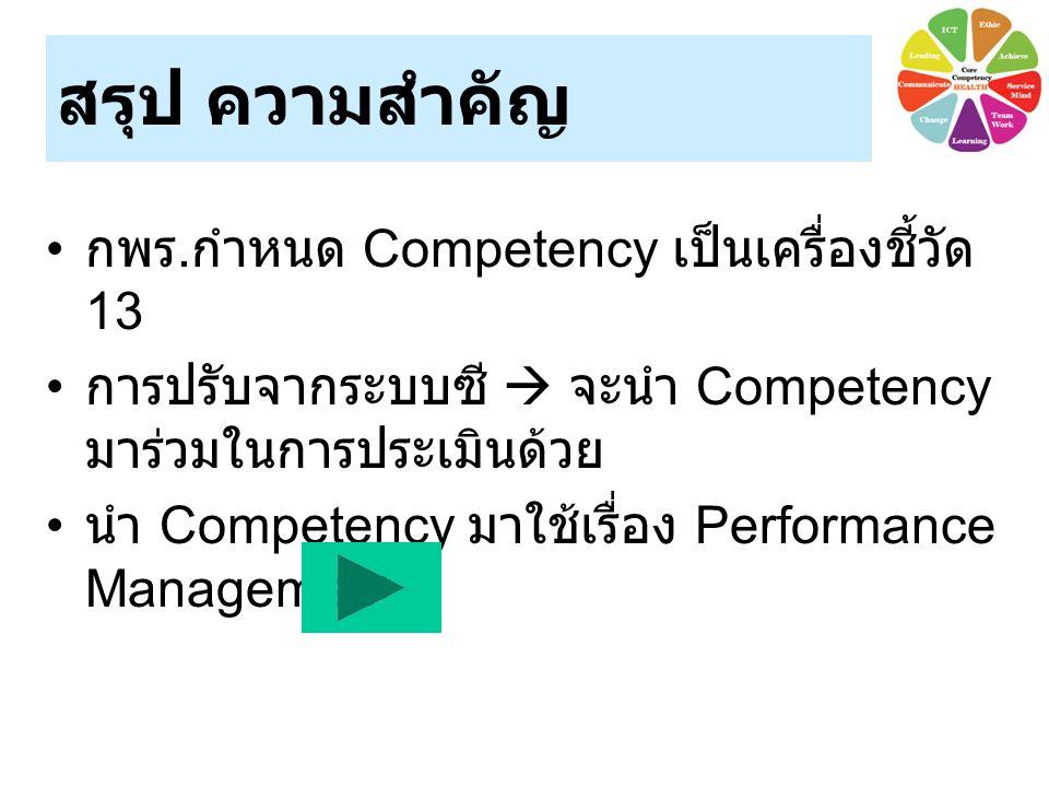 สรุป ความสำคัญ กพร.กำหนด Competency เป็นเครื่องชี้วัด 13