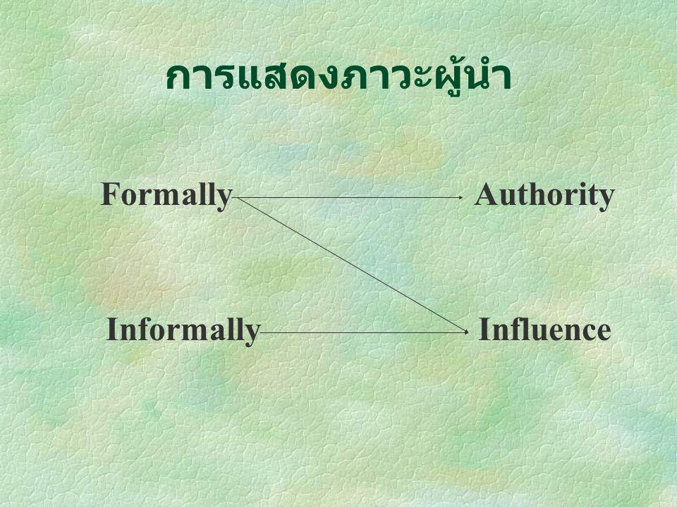 การแสดงภาวะผู้นำ Formally Authority Informally Influence