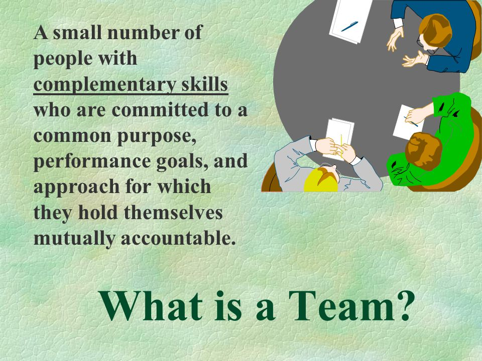 A small number of people with complementary skills who are committed to a common purpose, performance goals, and approach for which they hold themselves mutually accountable.