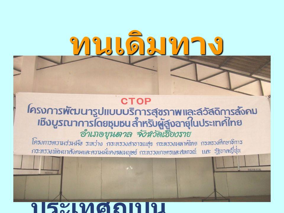 ทุนเดิมทางสังคม 3.บูรณาการความร่วมมือระหว่างประเทศไทย และประเทศญี่ปุ่น ดำเนินงานโครงการ CTOP.