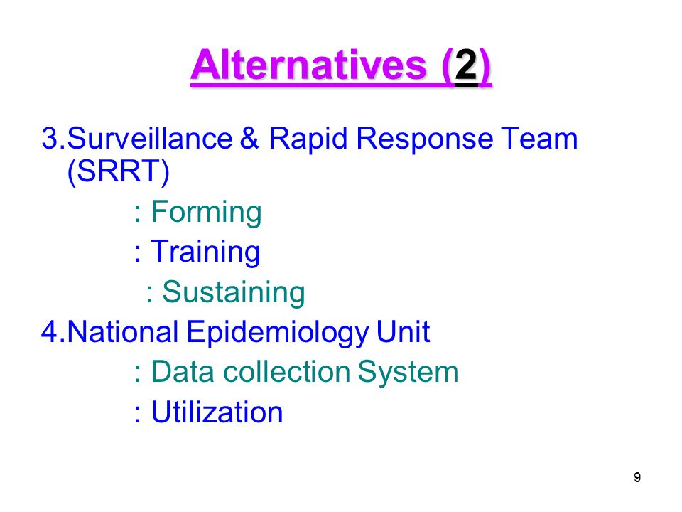 Alternatives (2) 3.Surveillance & Rapid Response Team (SRRT) : Forming