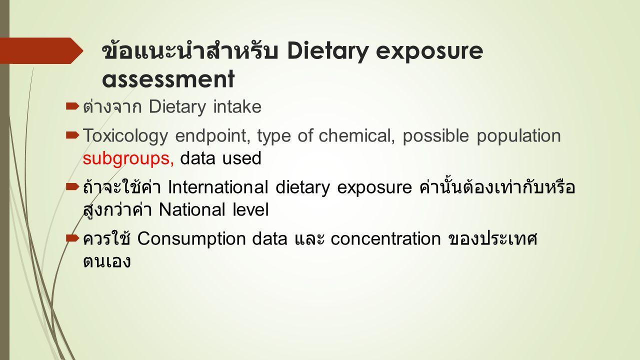 ข้อแนะนำสำหรับ Dietary exposure assessment