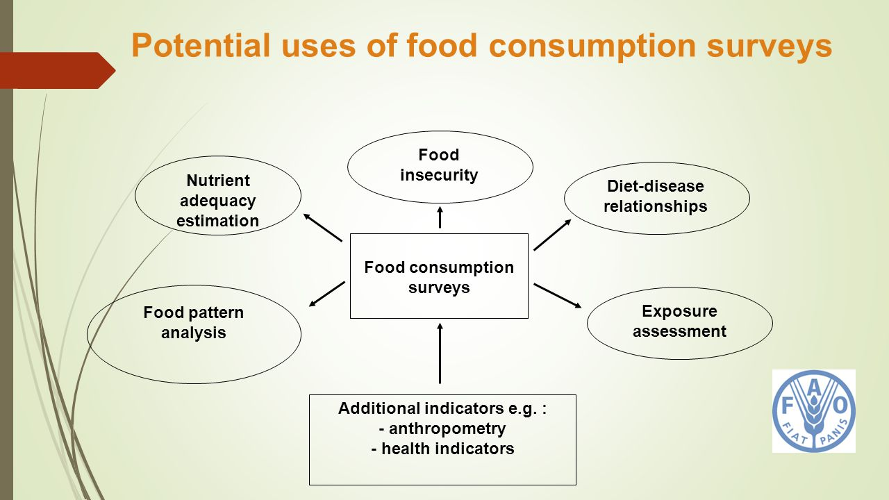 Potential uses of food consumption surveys