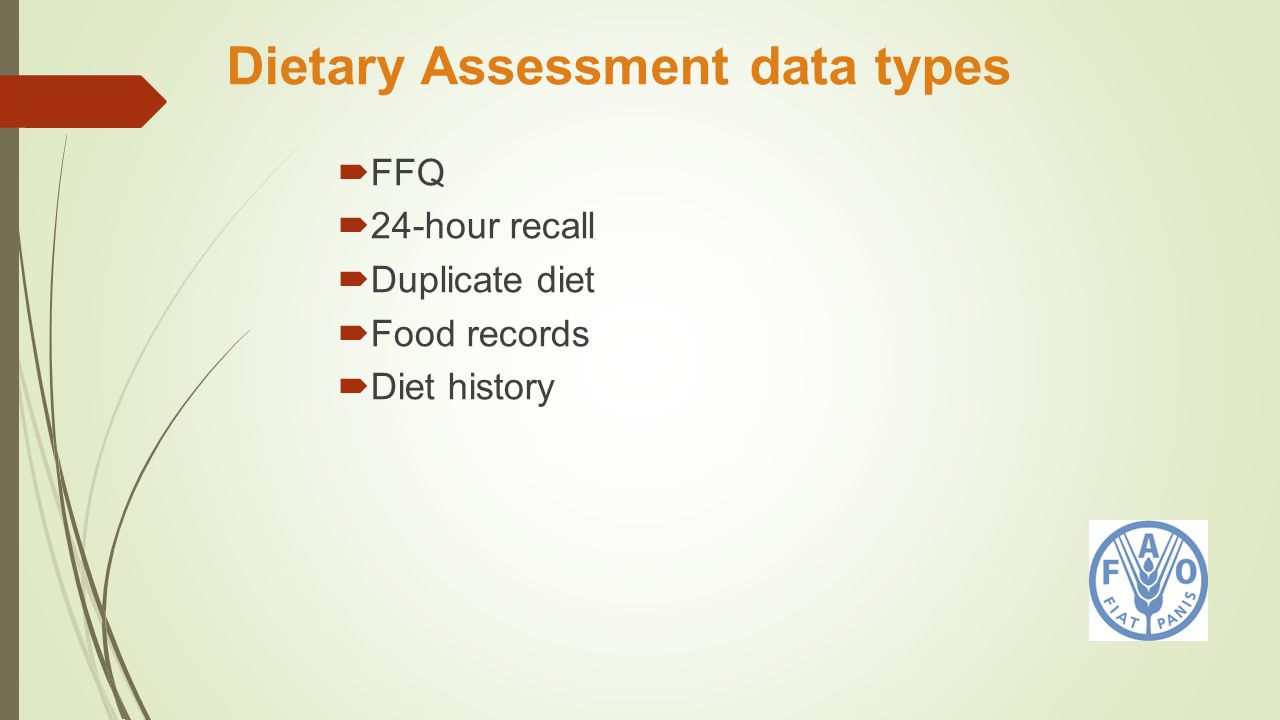 Dietary Assessment data types