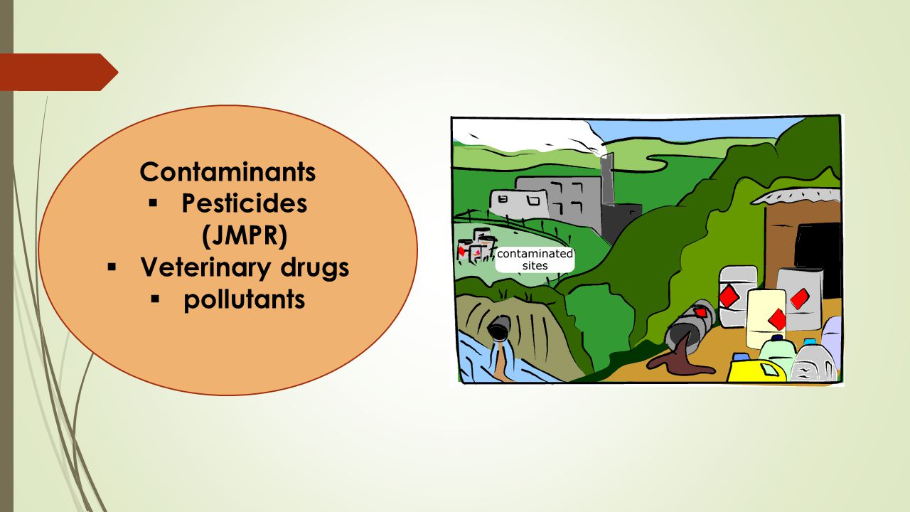 Contaminants Pesticides (JMPR) Veterinary drugs pollutants