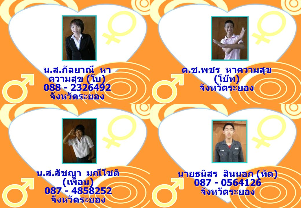 น.ส.กัลยาณี หาความสุข (โบ) 088 - 2326492 จังหวัดระยอง