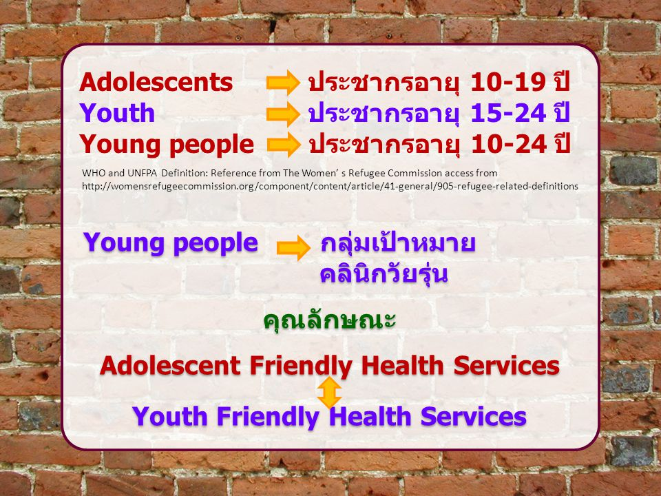 Adolescent Friendly Health Services Youth Friendly Health Services