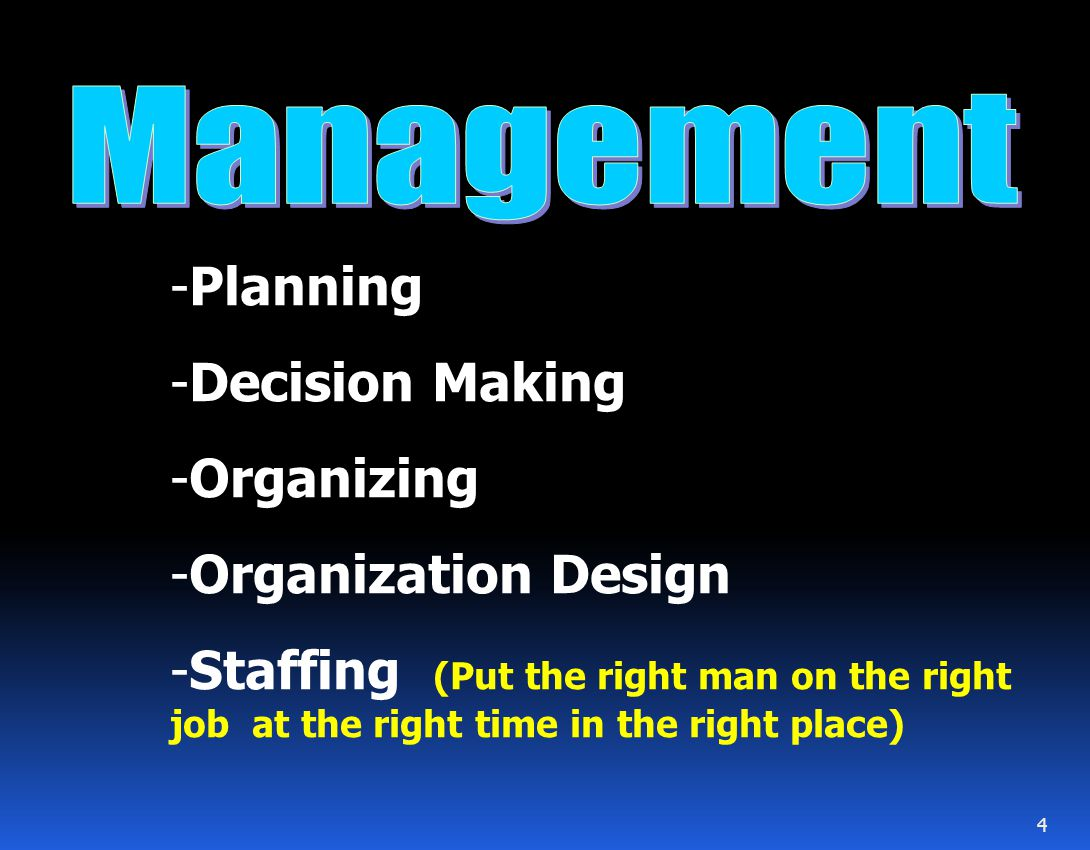 Management Planning Decision Making Organizing Organization Design