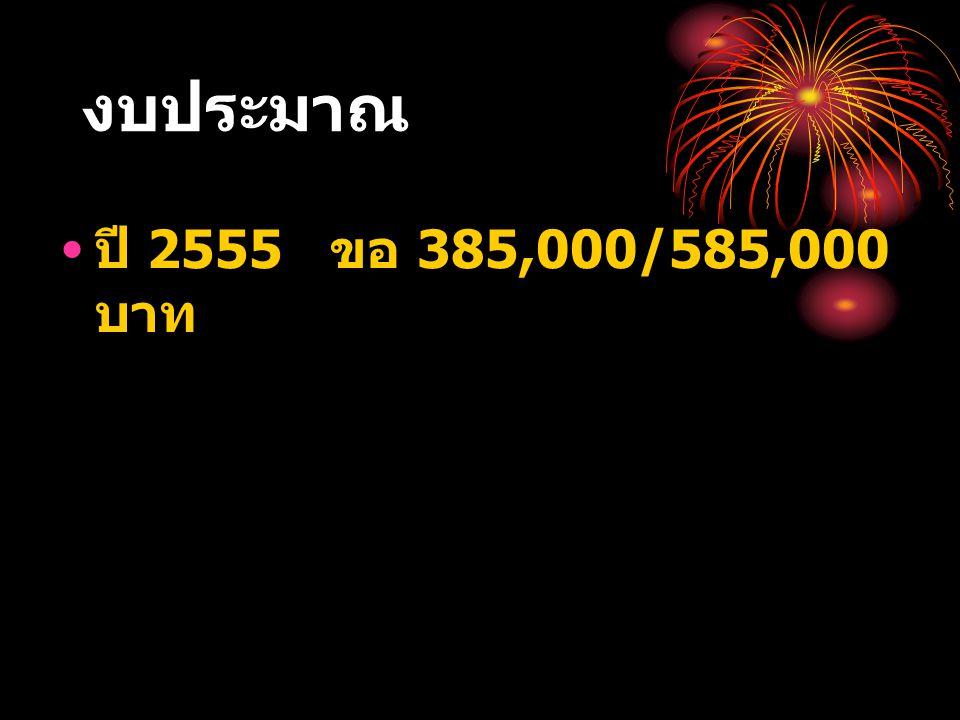 งบประมาณ ปี 2555 ขอ 385,000/585,000 บาท