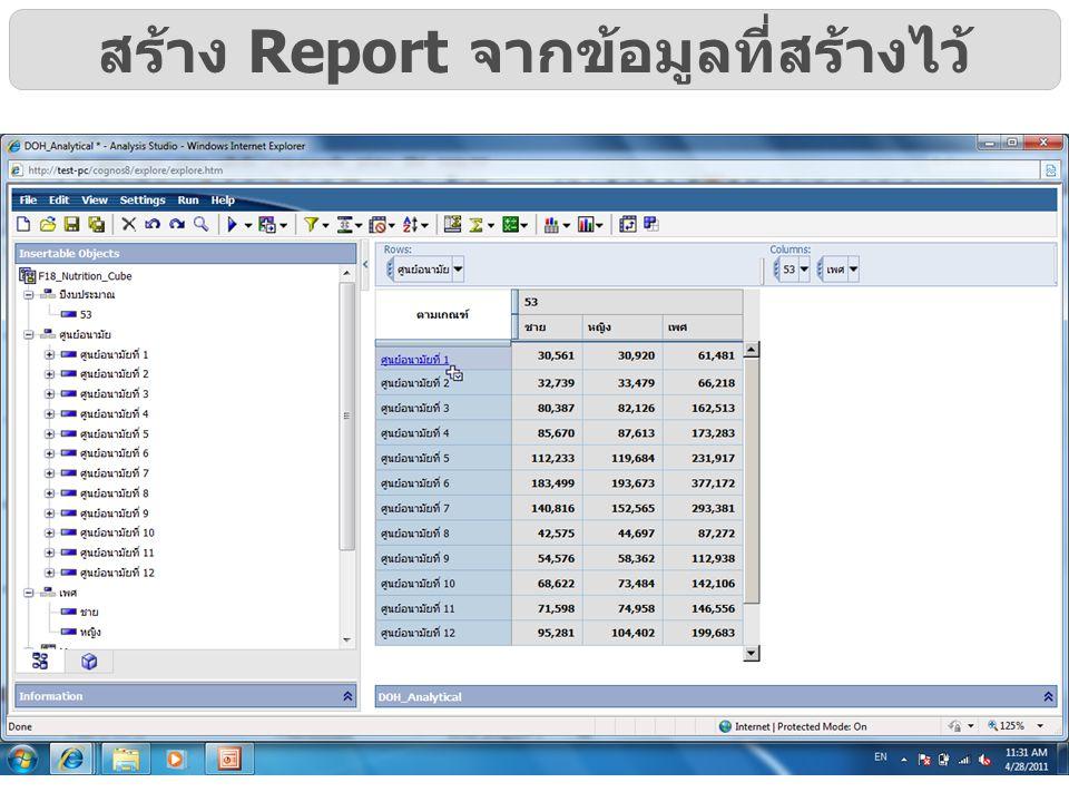 สร้าง Report จากข้อมูลที่สร้างไว้