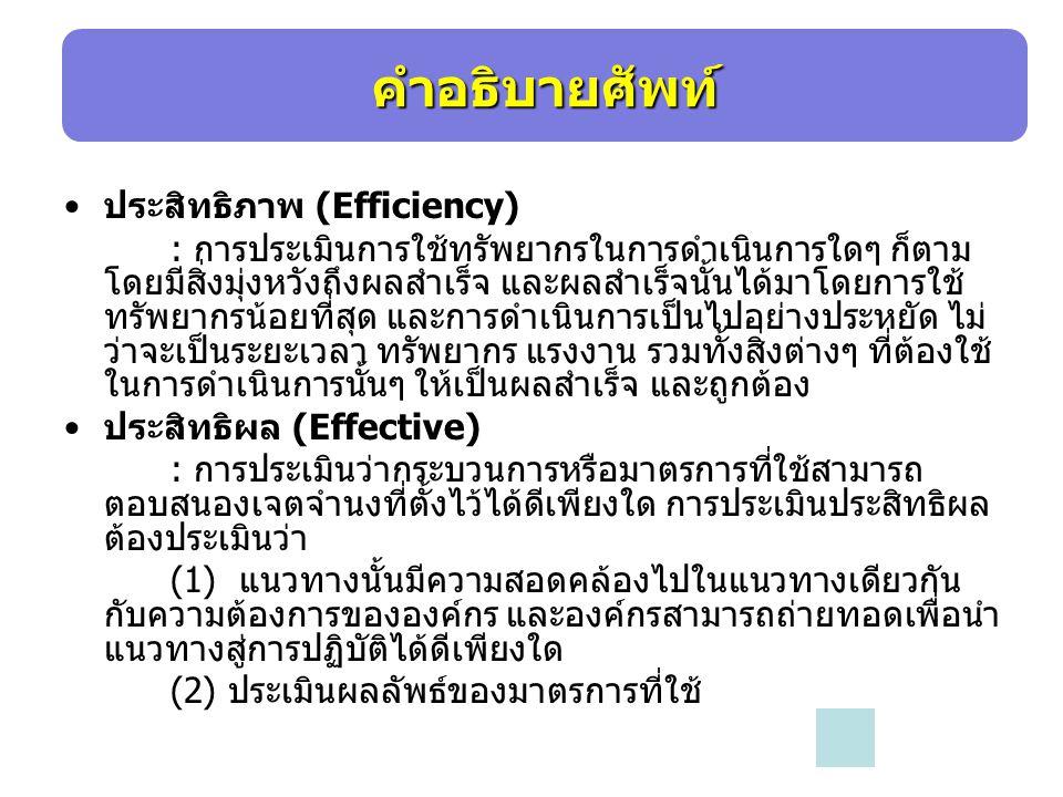 คำอธิบายศัพท์ ประสิทธิภาพ (Efficiency)