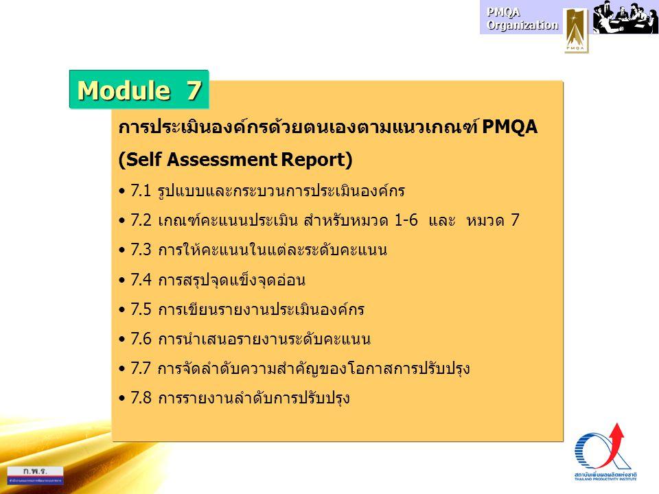 Module 7 การประเมินองค์กรด้วยตนเองตามแนวเกณฑ์ PMQA
