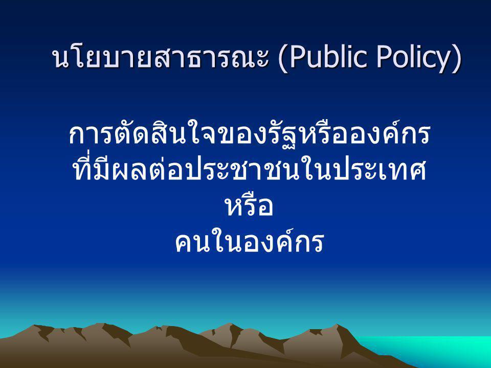 นโยบายสาธารณะ (Public Policy)