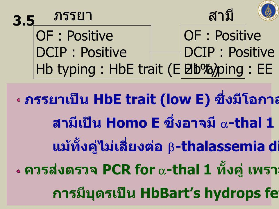 ภรรยา สามี OF : Positive DCIP : Positive Hb typing : HbE trait (E 21%)