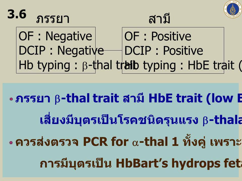 ภรรยา สามี 3.6 OF : Negative OF : Positive DCIP : Negative
