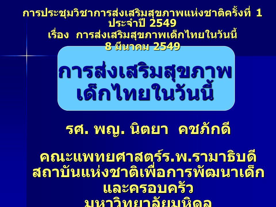 การส่งเสริมสุขภาพ เด็กไทยในวันนี้