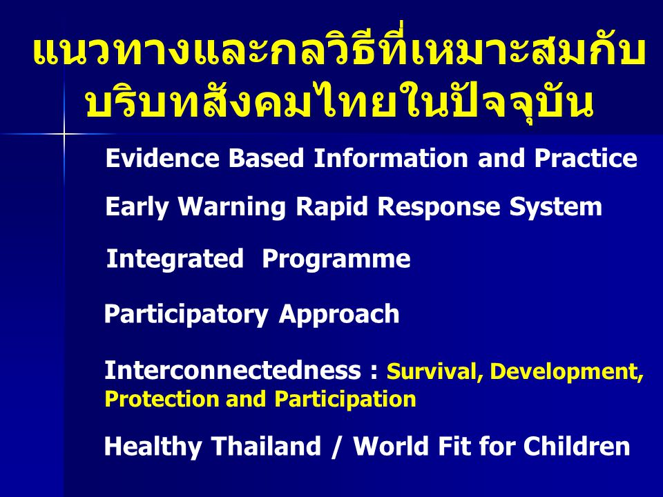แนวทางและกลวิธีที่เหมาะสมกับ บริบทสังคมไทยในปัจจุบัน
