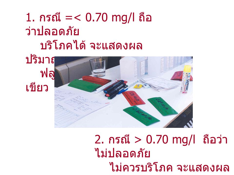 1. กรณี =< 0.70 mg/l ถือว่าปลอดภัย บริโภคได้ จะแสดงผลปริมาณ ฟลูออไรด์ในแผ่นป้ายสีเขียว