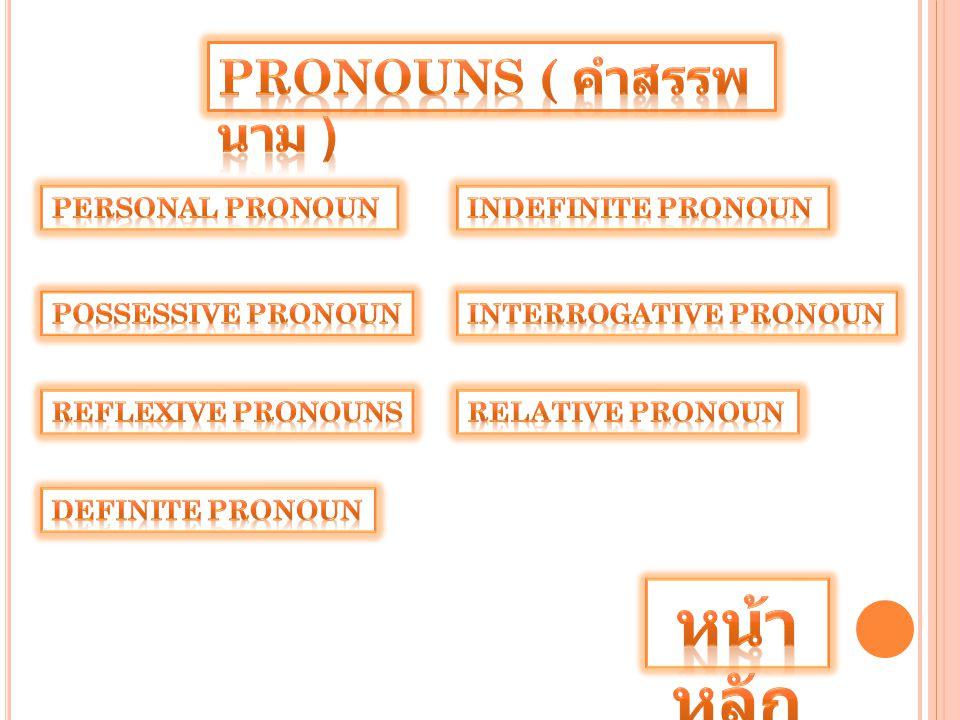หน้าหลัก Pronouns ( คำสรรพนาม ) Personal Pronoun Indefinite Pronoun