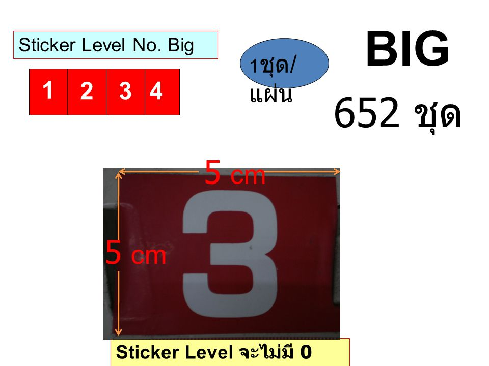 BIG 652 ชุด 5 cm 5 cm 1 2 3 4 Sticker Level No. Big 1ชุด/แผ่น