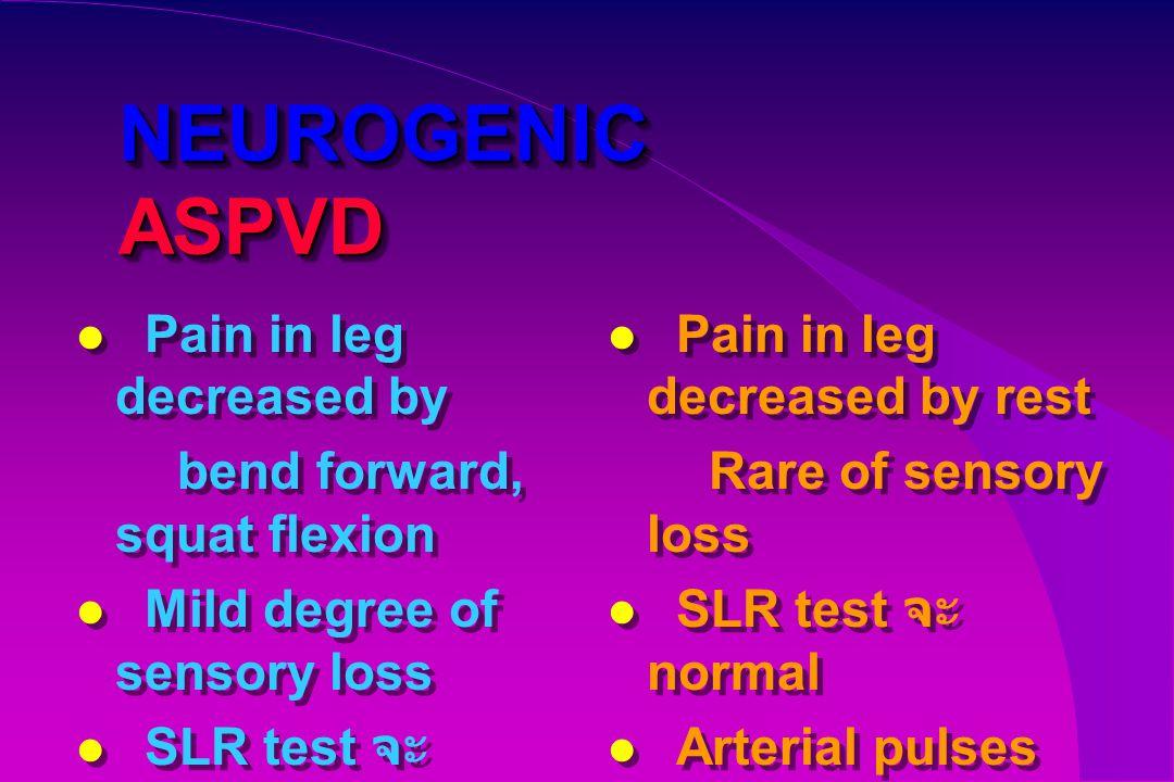NEUROGENIC ASPVD Pain in leg decreased by bend forward, squat flexion