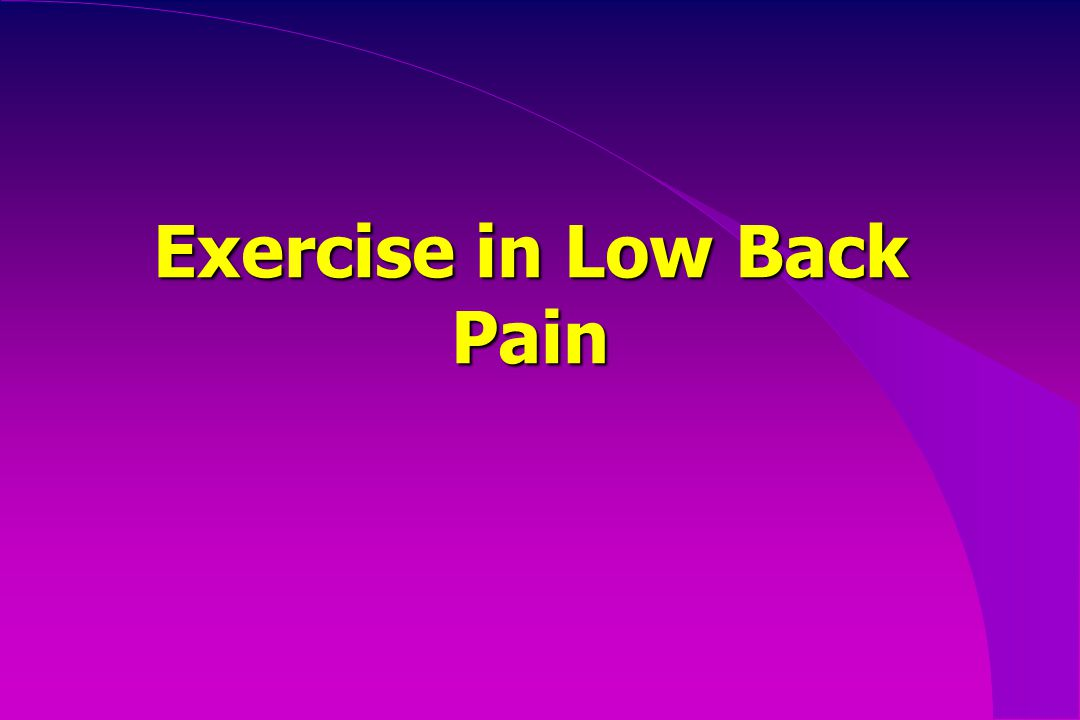 Exercise in Low Back Pain