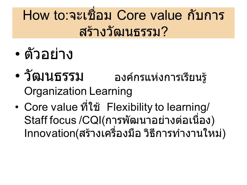 How to:จะเชื่อม Core value กับการสร้างวัฒนธรรม