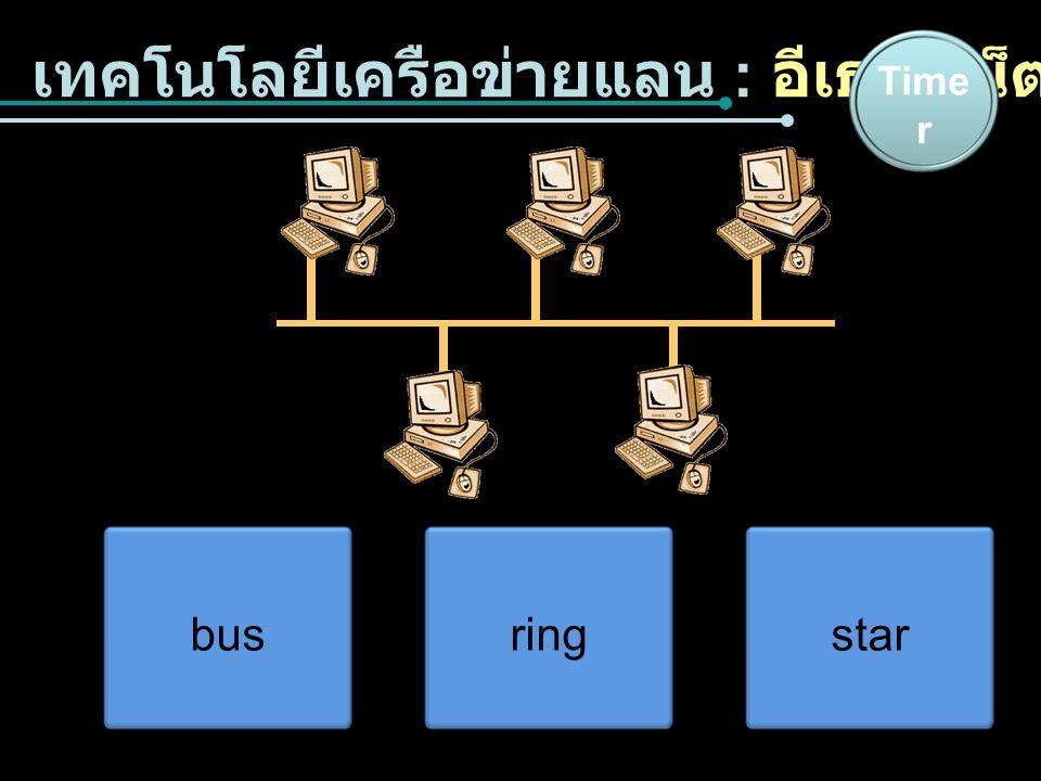 เทคโนโลยีเครือข่ายแลน : อีเธอร์เน็ต